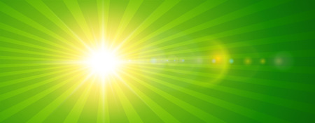 dazzling: Sunny background, green sun with lens flare, vector summer illustration