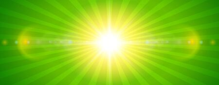 Sunny background, green sun with lens flare, vector summer illustration