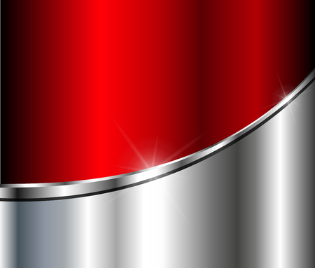 chrome texture: Abstract  background silver red with metallic elements, 3D vector illustration.