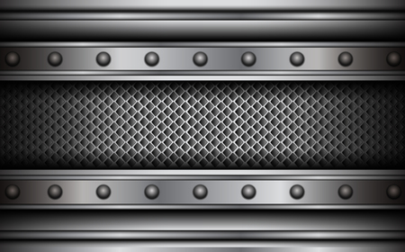steel plate: Background silver metallic with rivets, 3D vector illustration Illustration