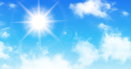 Sunny blue sky with white clouds and sun illustration. Illustration