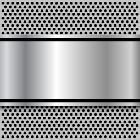 Background, polished metal texture over holes pattern, vector. Çizim