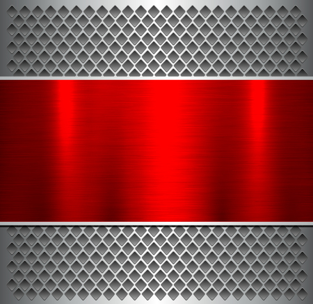 Pattern silver red with metallic, brushed metal banner over perforated pattern. Vector Illustration