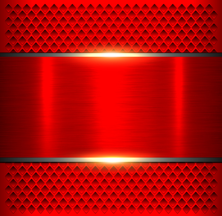 Red  metallic, brushed metal banner over perforated pattern.