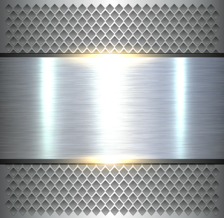 tack: Shiny silver metallic, polished metal texture over holes pattern.