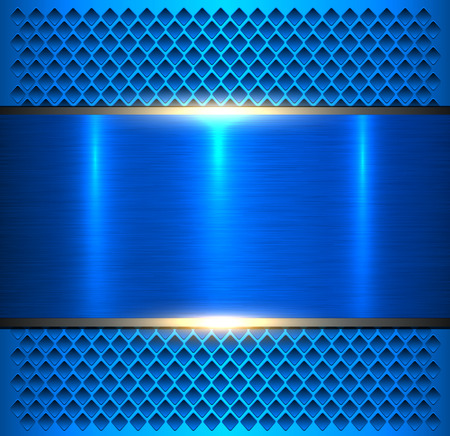 Blue metallic, brushed metal banner over perforated pattern.