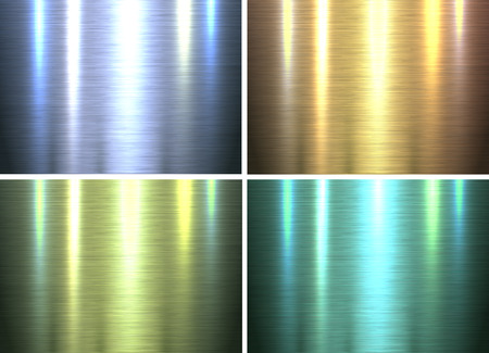 Metal textures backgrounds, shiny brushed metallic texture plates, vector illustration.
