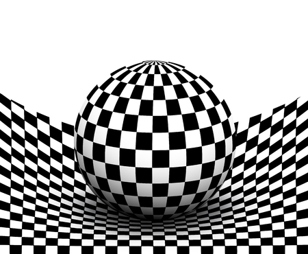 Background 3d black and white, checkered distorted space with sphere inside, vector illustration