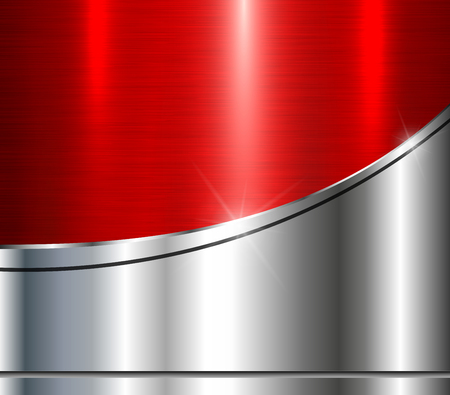 Background silver metallic with red brushed metal shiny texture, vector illustration. Stock Vector - 82994022