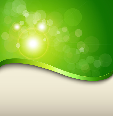 Sunny green background with elegant abstract wave and green bokeh, vector. Illustration