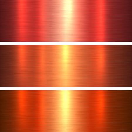 金属はテクスチャ オレンジと赤いブラシをかけられた金属背景、ベクトル図です。