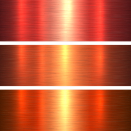 Metal textures orange and red brushed metallic background, vector illustration.