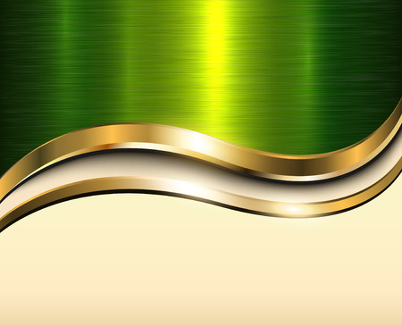 Background gold metallic with green brushed metal  texture and copy space