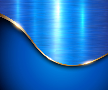 Blue metallic background, elegant with gold wave and metal texture vector illustration. Illustration