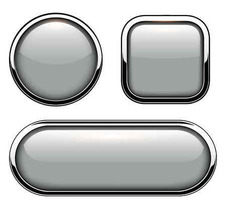 glass reflection: Glossy buttons with metallic chrome elements isolated, vector illustration. Illustration