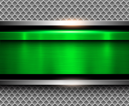 Background metallic green with brushed metal texture, vector illustration.