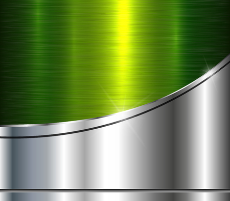 Background silver metallic with green brushed metal shiny texture, vector illustration. Ilustração