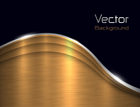 brushed steel: Background gold metallic with brushed metal  texture, vector illustration