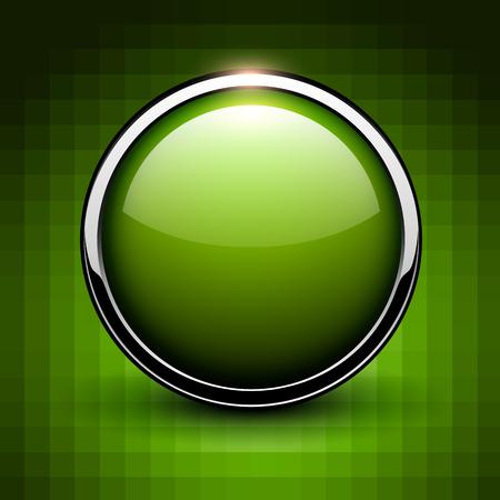 Green button shiny chrome metallic, vector illustration. Illustration