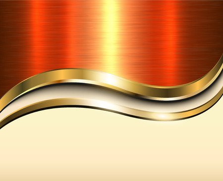 Background gold metallic with orange brushed metal  texture with copy space Illustration