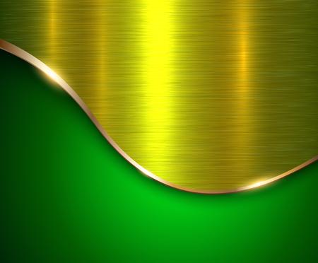 緑メタリック背景は、金の波と金属の質感、ベクトル イラスト エレガントです。