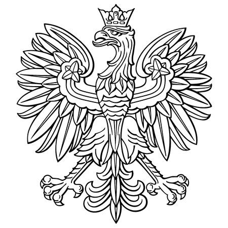 Águila de Polonia, escudo nacional polaco, detallada ilustración vectorial.