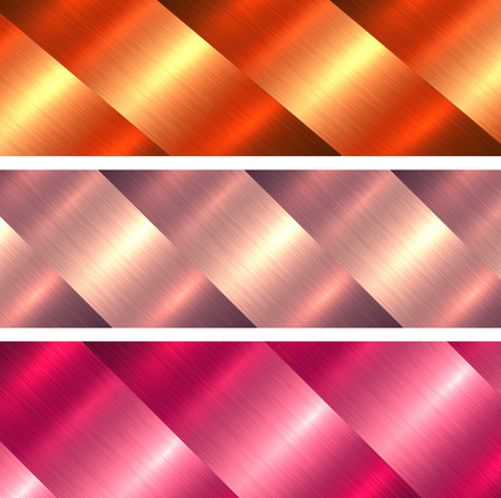 Metal textures orange and red brushed metallic backgrounds, vector illustration.