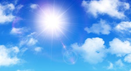 Sunny Hintergrund, blauer Himmel mit weißen Wolken und Sonne, Vektor-Illustration. Vektorgrafik