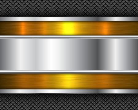 Background silver gold metallic,  brushed metal shiny texture, vector illustration. Illustration