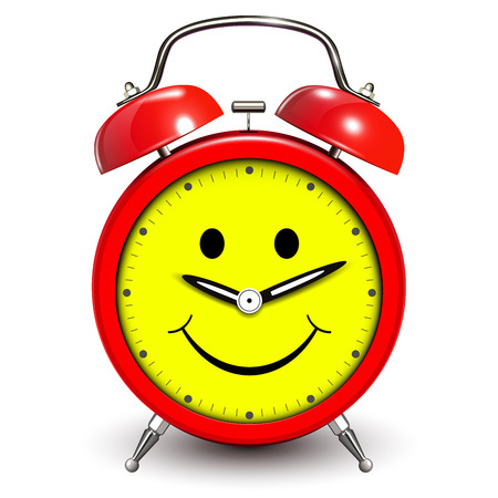 joking: Alarm clock happy and smiling, funny vector illustration.