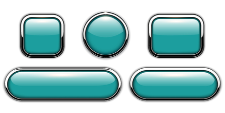 web: Glossy buttons blue with metallic chrome elements, vector illustration.