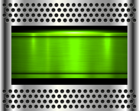 metal background, shiny green metallic chrome plate.