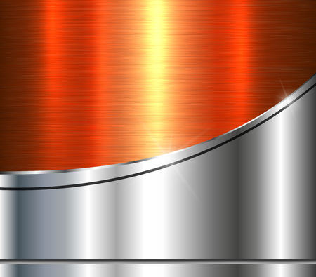 Background silver metallic with orange brushed metal shiny texture, vector illustration. Illustration