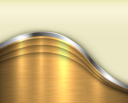 steel plate: Gold and silver wave lines pattern.