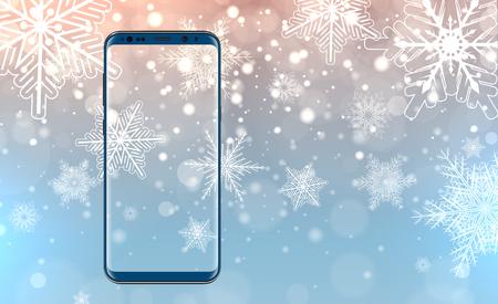 christmas backdrop: Mobile phone on Christmas backdrop.