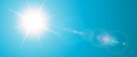 맑은 배경, 렌즈 플레어, 벡터 일러스트와 함께 푸른 태양 벡터 여름 그림