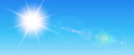 Sonniger Hintergrund, blaue Sonne mit Blendenfleck, Vektorsommerillustration