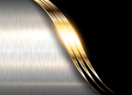 Metal background, elegant gold and silver vector metallic texture Illusztráció