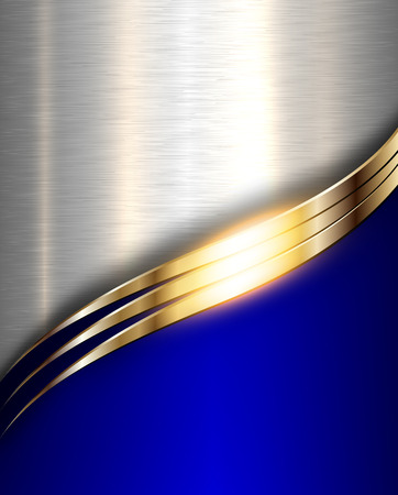 Metal background, elegant blue metallic with gold wave.