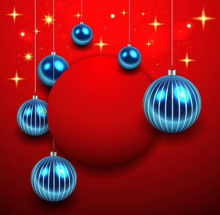 Abstract Christmas background red with blue balls and vector illustration.
