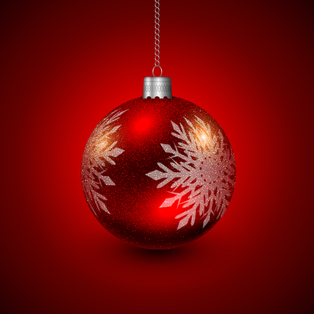 Christmas bauble red and silver, elegant vector Christmas background