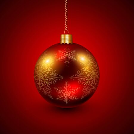 space: Christmas bauble red and gold, elegant vector Christmas background Illustration