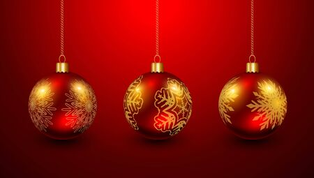 Christmas baubles red and gold, elegant vector Christmas background Illustration
