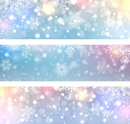 Christmas backgrounds, banners with snowflakes, winter vector illustration