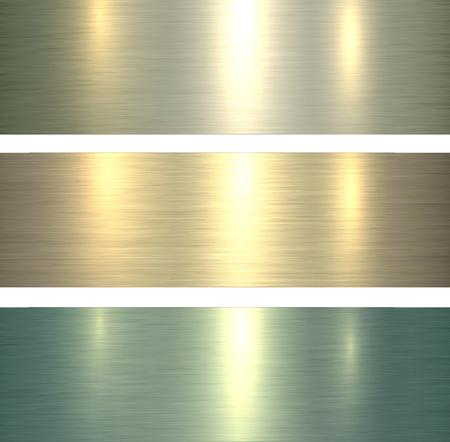 Metal textures light green, brushed metallic backgrounds, vector illustration.