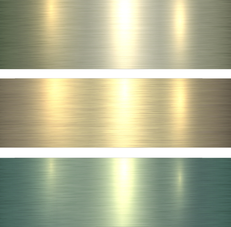 Metal textures light green, brushed metallic backgrounds, vector illustration.