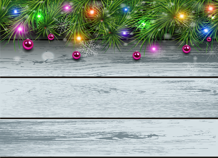 Christmas wooden background with fir branches and lights. Vector illustration.