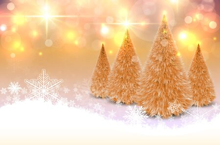 Christmas background with snowflakes and Christmas trees, winter vector illustration. Illustration