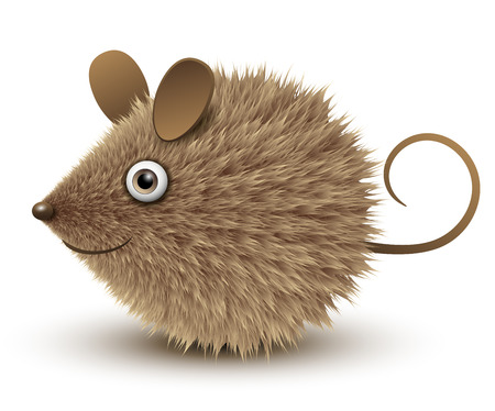 Funny mouse, brown and hairy, vector illustration. 向量圖像