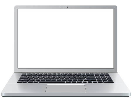 Laptop computer isolated with empty screen, vector illustration. Çizim